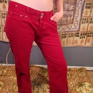 Lucky Brand 14 Red Button Fly Mid Rise Flare Pants